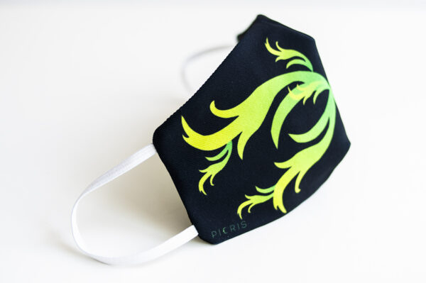 cubre mascarilla negro repujado verde 03