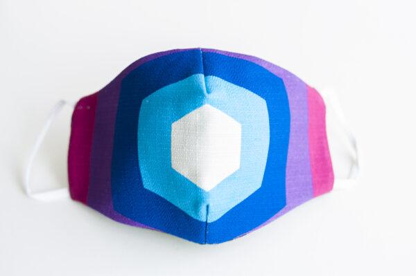 cubre mascarilla tela pentagono rosa azul elastico blanco 00