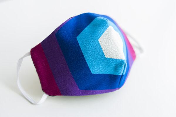 cubre mascarilla tela pentagono rosa azul elastico blanco 01