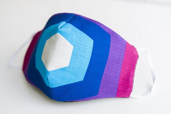 cubre mascarilla tela pentagono rosa azul elastico blanco 02