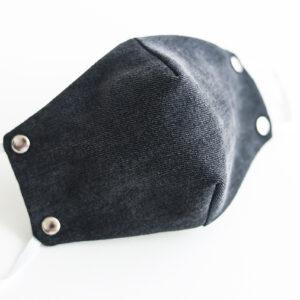 cubre mascarilla tela vaquera negro remache plata elastico blanco 00