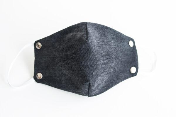 cubre mascarilla tela vaquera negro remache plata elastico blanco 01