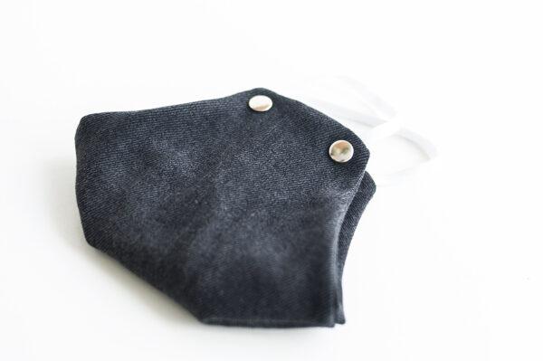cubre mascarilla tela vaquera negro remache plata elastico blanco 03