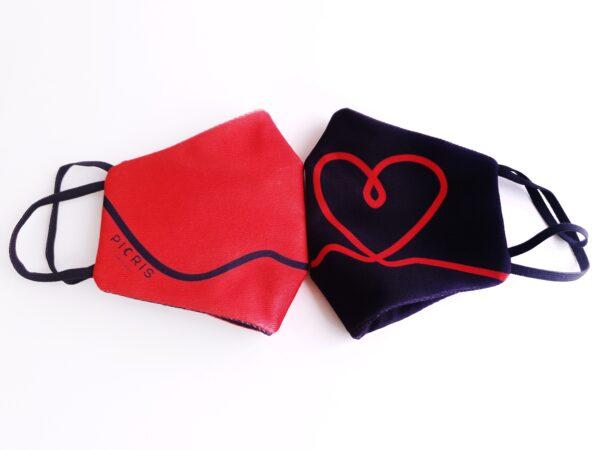 mascarilla picris original negro corazon rojo duo 05