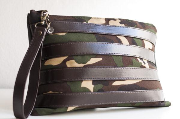 clutch camuflaje marron tiras piel sintetica verde negro asa 02