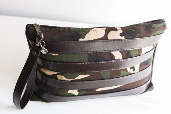 clutch camuflaje marron tiras piel sintetica verde negro asa 03