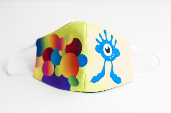 cubremascarilla infantil bolas colores monstruo azul 00