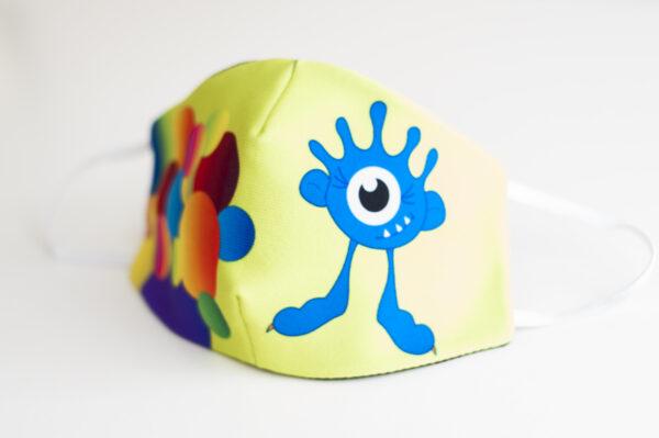 cubremascarilla infantil bolas colores monstruo azul 01