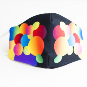 cubremascarilla infantil negro bolas colores 00