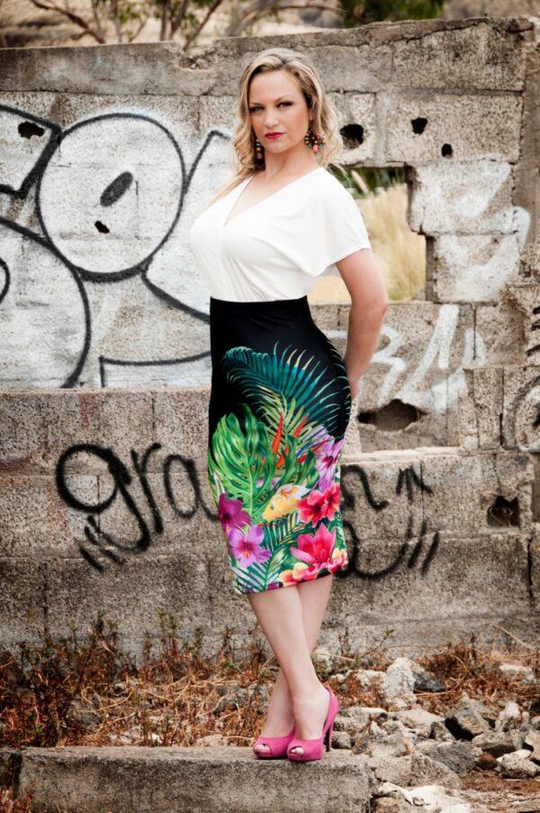 Falda midi floreale picris original tropical negro poliester elastano