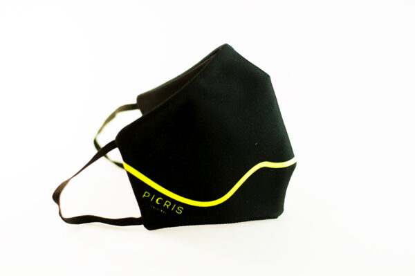 mascarilla corazon amarillo fluor picrisoriginal base negra elastico filtro tnt 01