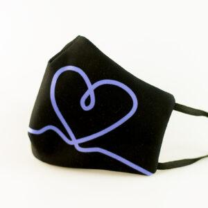 mascarilla corazon azul picrisoriginal base negra elastico filtro tnt 00