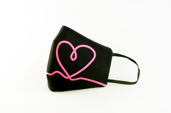 mascarilla corazon rosa fluor picrisoriginal base negra elastico filtro tnt 00