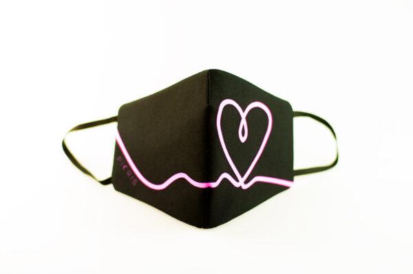 mascarilla corazon rosa fluor picrisoriginal base negra elastico filtro tnt 02