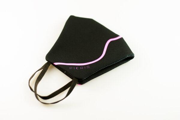 mascarilla corazon rosa fluor picrisoriginal base negra elastico filtro tnt 04