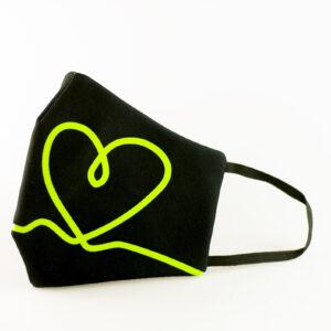 mascarilla corazon verde fluor picrisoriginal base negra elastico filtro tnt 00