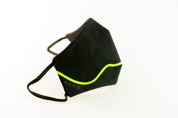 mascarilla corazon verde fluor picrisoriginal base negra elastico filtro tnt 02