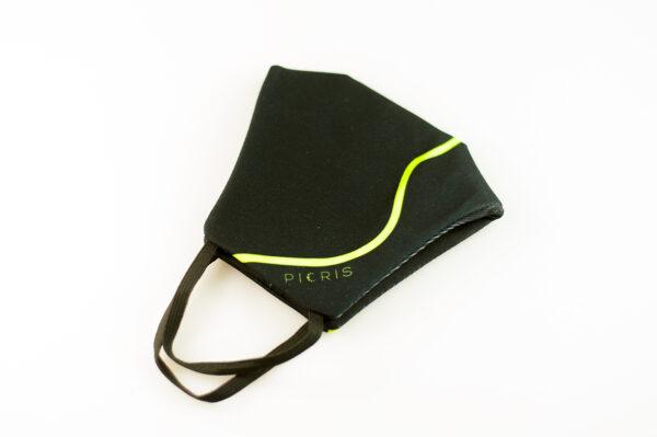 mascarilla corazon verde fluor picrisoriginal base negra elastico filtro tnt 05