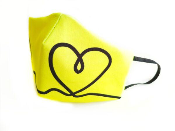 mascarilla filtro tnt picris original amarillo fluor corazon negro elastico 00