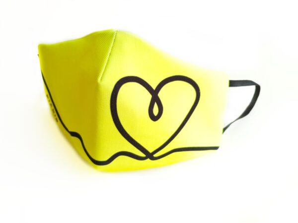 mascarilla filtro tnt picris original amarillo fluor corazon negro elastico 01