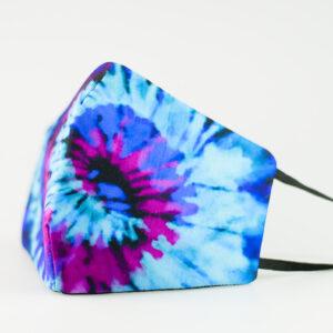 mascarilla picrisoriginal tiedye tie dye azul violeta morado elastico negro filtro tnt 00
