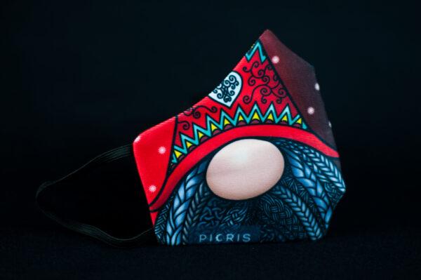 mascarilla higienica navidad copos blancos duente rojo 01