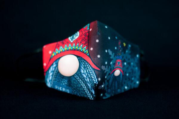 mascarilla higienica navidad copos blancos duente rojo 02