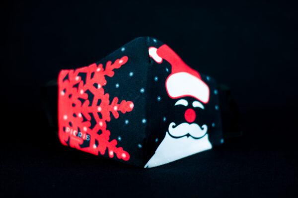 mascarilla higienica navidad copos blancos papanoel rojo 02