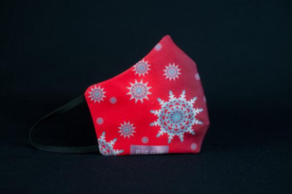 mascarilla higienica navidad copos blancos plata rojo degradado 01