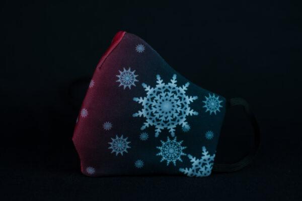 mascarilla higienica navidad copos blancos plata rojo degradado 02