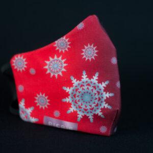 mascarilla higienica navidad copos blancos plata rojo degradado 03