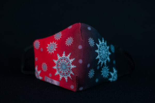 mascarilla higienica navidad copos blancos plata rojo degradado 04