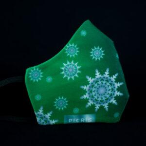 mascarilla higienica navidad copos blancos plata verde degradado 01