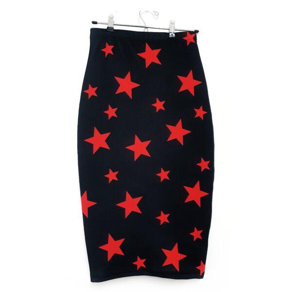 falda midi estrellas roja
