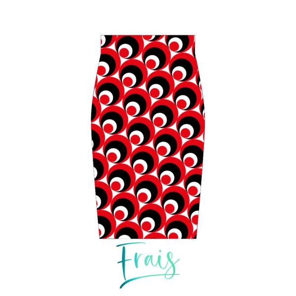 falda circulos rojos frais fondo blanco