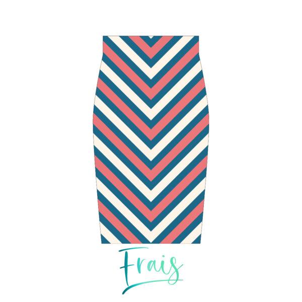 falda rayas azul frais fondo blanco