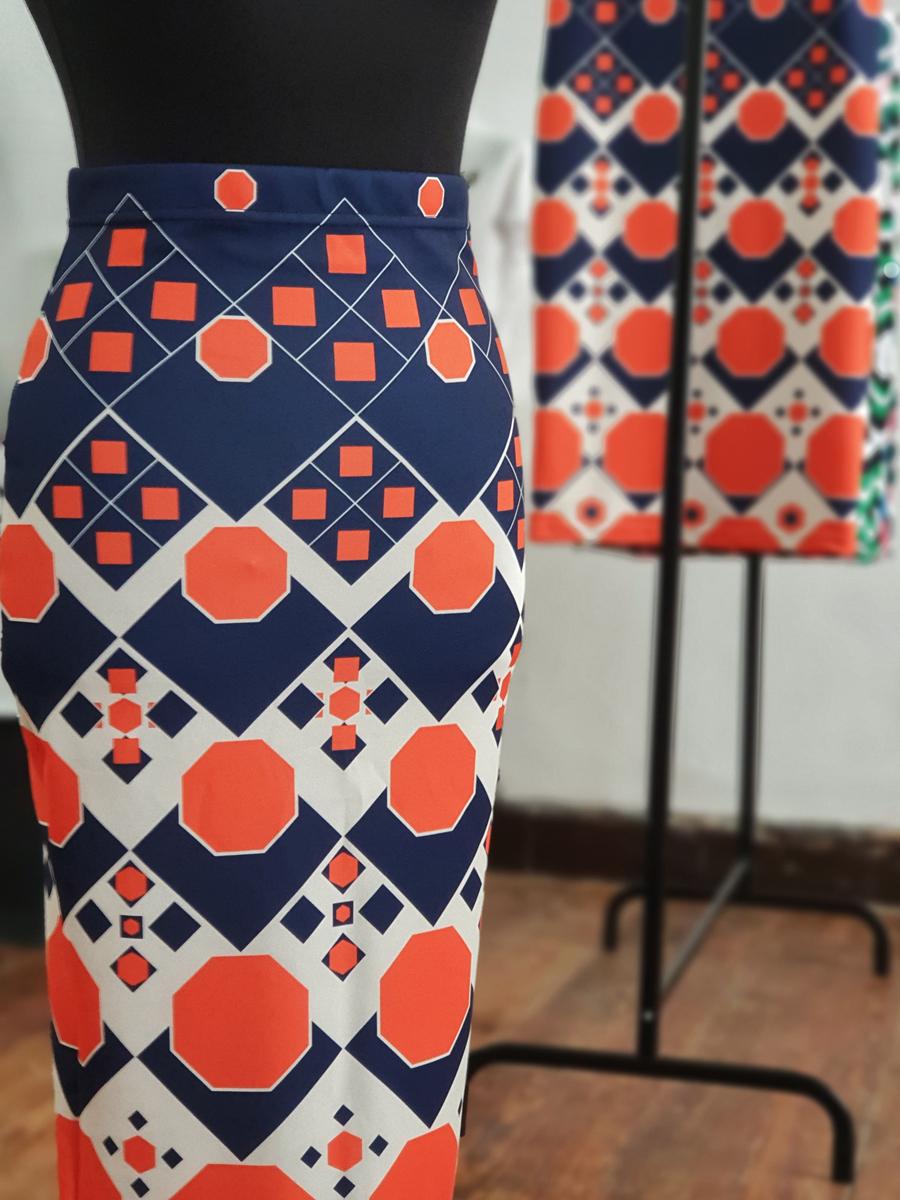 falda midi picris frais octogono naranja azul crudo retro 01