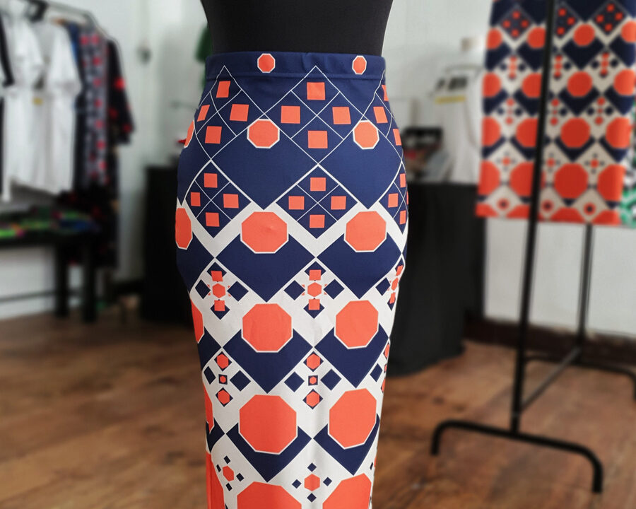 falda midi picris frais octogono naranja azul crudo retro 02