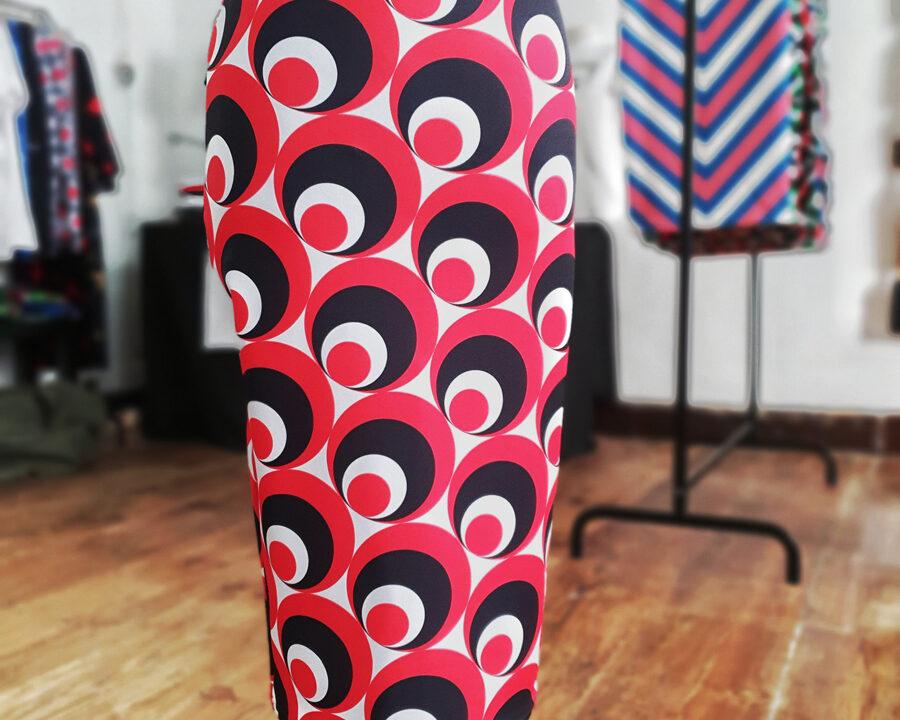 falda midi picris frais rojo negro blanco circulos retro 02