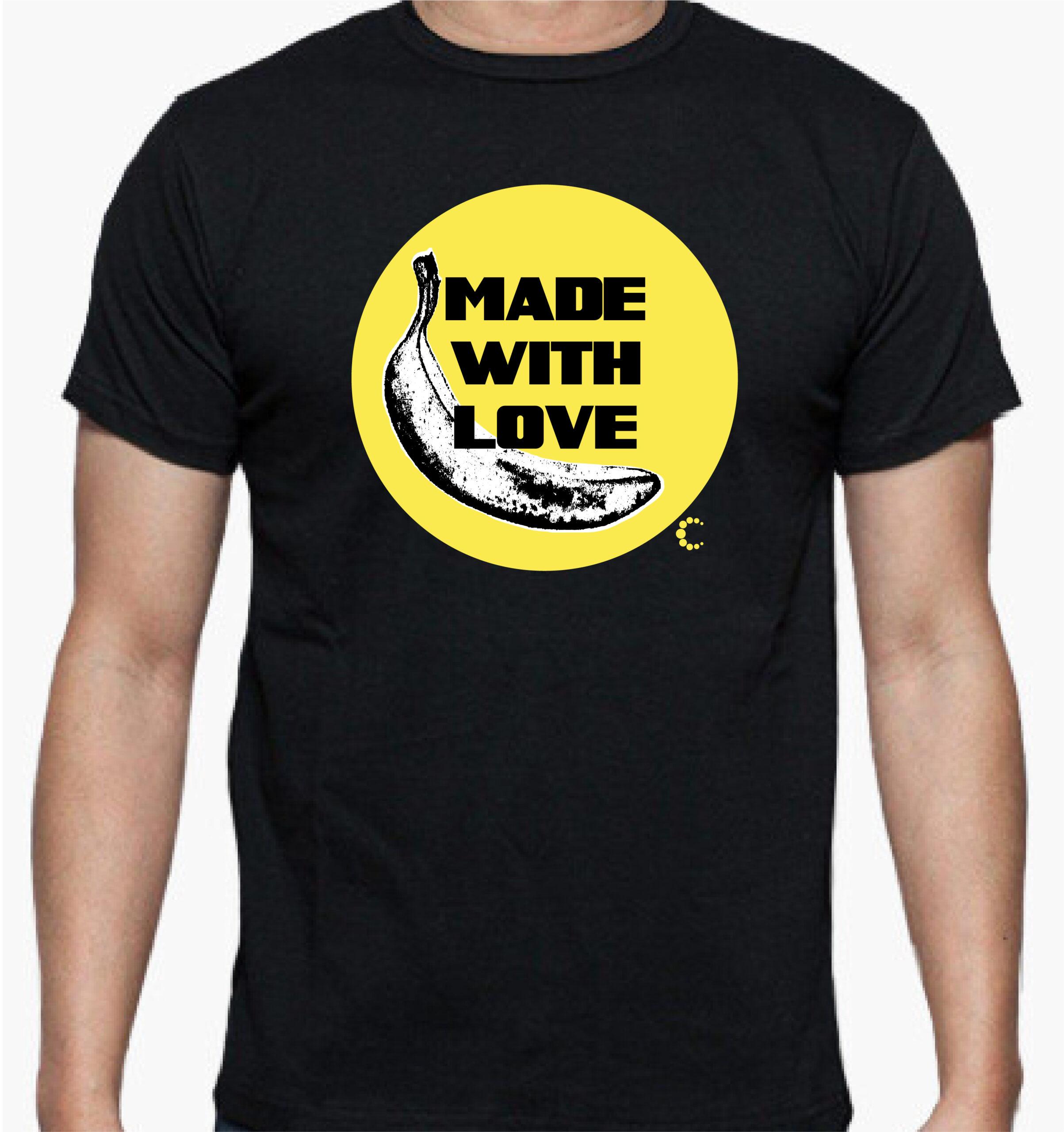 camiseta made with love negra amarilla algodon