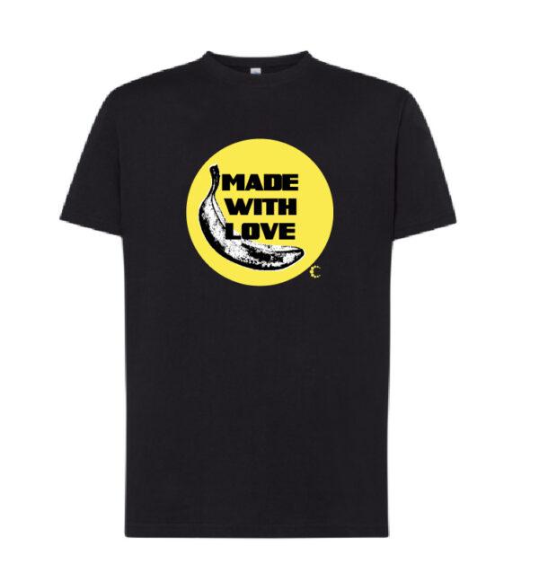 camiseta made with love negra amarilla algodon 01
