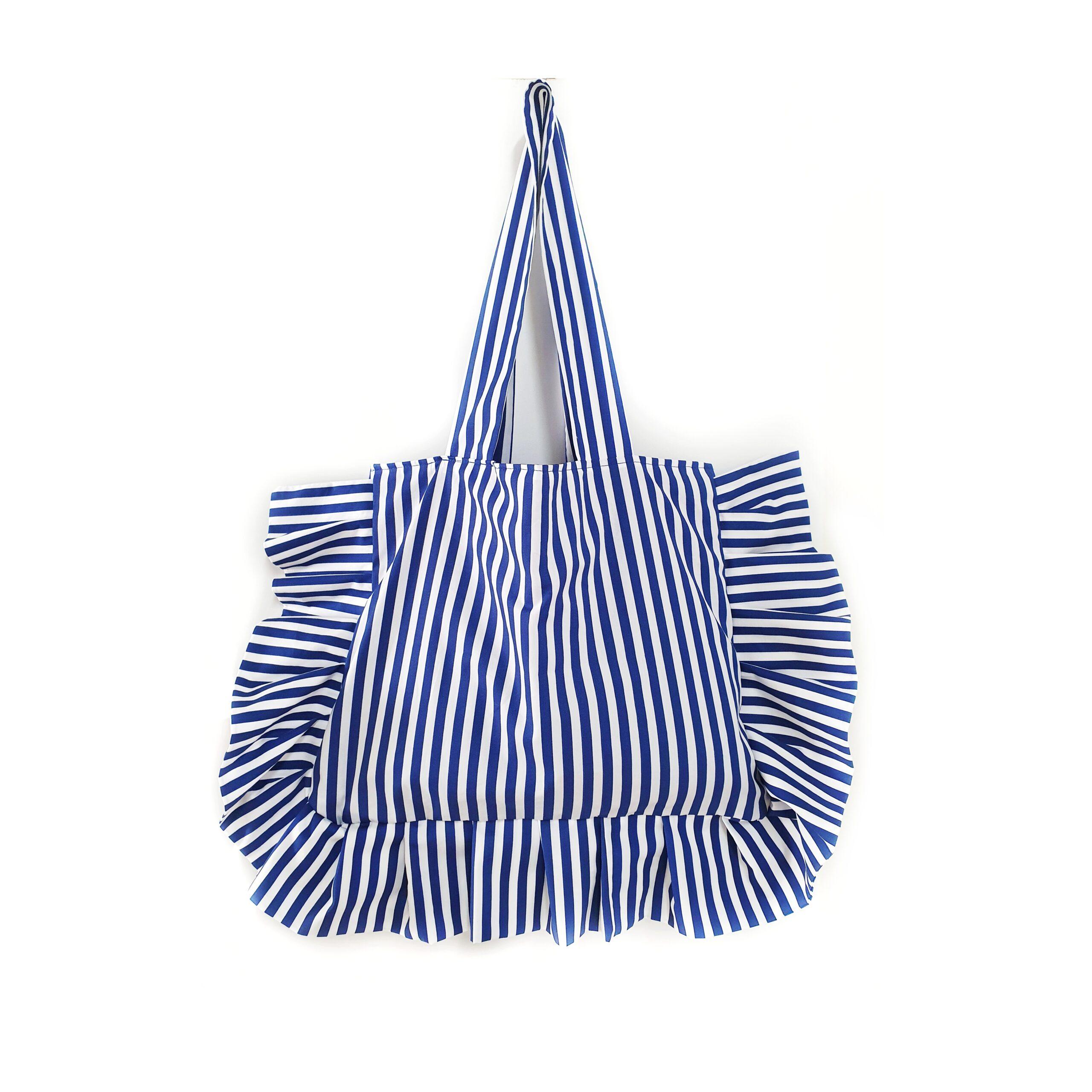 Bolso tela rayas azul marinero